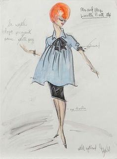 Edith Head sketch for Lucille Ball in Mr. and Mrs. (1964 TV Movie)