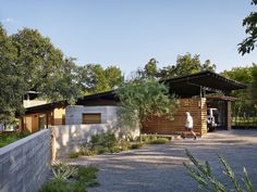 An Austin garage shaded by an overhang