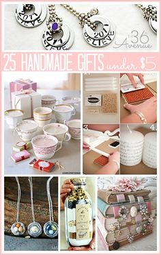 25 Handmade Gifts Under $5 (includes tutorials)- cozies, necklace?, hot chocolate themed basket?, and others...