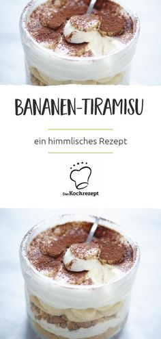 Was fehlt dir als Bananen-Fan meistens in deinem Tiramisu? Genau, deine Liebling… As a banana fan, what do you mostly lack in your tiramisu? Exactly, your favorite fruits. With us you get a heavenly recipe that combines tiramisu and bananas. Tiramisu Dessert, Dessert Bread, Quick Dessert Recipes, Healthy Desserts, Easy Desserts, Cake Recipes, Dinner Recipes, Healthy Recipes, Dessert Simple