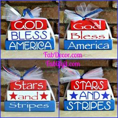 How cute are these stackers, DIY 4th of July craft, or buy it done at www.fabdecor.com