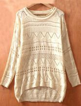 Biege Long Sleeve Geometric Eyelet Embellished Knit Jumper Sweater