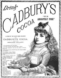 There's such a doll-like beauty to this lovely illustrated lass. Victorian ad food for cocoa hot chocolate illustration Vintage Labels, Vintage Cards, Vintage Signs, Vintage Postcards, Vintage Food, Vintage Ephemera, Retro Ads, Vintage Advertisements, Images Vintage