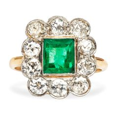 Emerald and Diamond Halo Victorian Engagement Ring image 2
