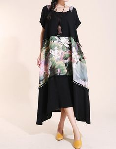 Cotton Summer Maxi Dress/ Loose Fitting Sundress Short by MaLieb