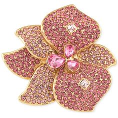 Carolee Gold-Tone Pink Crystal and Pave Flower Pin ($70) ❤ liked on Polyvore featuring jewelry, brooches, gold, carolee, pink jewelry, gold tone jewelry, flower pin brooch and carolee jewelry