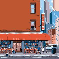 Cover illustration for @magazinelire this December. #newyorkish #bookshop #bookshelves #freezing #midtown #illustration #brick @illustree @picame @designarf @thedesigntip