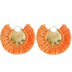 Pavone Earrings Orange | Ricardo Rodriguez Design | Wolf & Badger