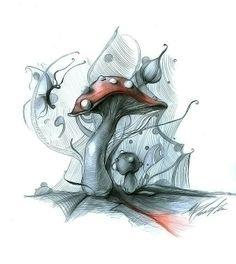 Mushroom Drawing, Mushroom Art, Mushroom Pictures, Sketch Inspiration, Hippie Art, Hand Art, Psychedelic Art, Conte, Doodle Art