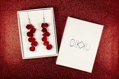 Red Vuono earrings by Oikku Design Place Cards, Palette, Place Card Holders, Earrings, Red, Color, Design, Ear Rings, Stud Earrings