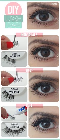 DIY Lash Bar - Overwhelmed by those long, thick, and outrageous looking false lashes but still want the celebrity look? Take cue from this guide to applying false lashes at home from 'The Beauty Department'. Beauty Make-up, Bridal Beauty, Beauty Hacks, Hair Beauty, Beauty Tips, Fashion Beauty, The Beauty Department, Applying False Lashes, Wie Macht Man