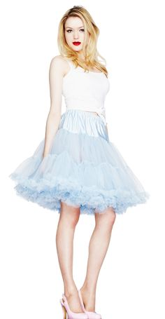 Essential petticoat underskirt from Hell Bunny, made from layers of sky blue netting and hemmed in volumous lace. Fluff up your dress or skirt for a dramatic 1950's swing style silhouette or wear alone. Fully elasticated upper for a comfortable, adjustable fit.
