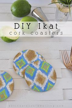 Easy DIY Ikat Cork Coasters! Perfect to set out while hosting your next backyard bbq or an evening girl's night! Delineateyourdwelling.com