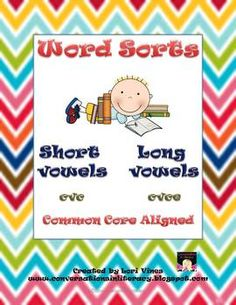 Word Sorts Short and Long Vowels: 24 sorting lessons, 8 different sorting mats, differentiation and extension activities included- common core aligned-$