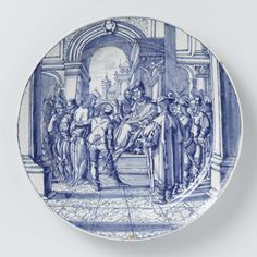 Bord met Jezus bij Pontius Pilatus, Dammas Hofdijck, Hendrick Goltzius, ca. 1700 - ca. 1725