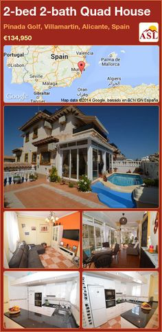 Quad House for Sale in Pinada Golf, Villamartin, Alicante, Spain with 2 bedrooms, 2 bathrooms - A Spanish Life Valencia, Quad, Sun Awnings, Portugal, Alicante Spain, Side Garden, Family Bathroom, Cupboard Storage, Double Bedroom