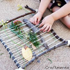 your own stick looms, go on a nature hunt, and then weave with the items you find! From Craftiments.Make your own stick looms, go on a nature hunt, and then weave with the items you find! From Craftiments. Nature Activities, Outdoor Activities, Activities For Kids, Best Summer Camps, Summer Fun, Art For Kids, Crafts For Kids, Arts And Crafts, Kids Nature Crafts