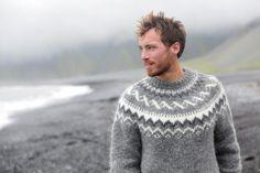 Handsome man walking black sand beach on Iceland wearing Icelandic sweater. Good looking male model looking pensive at ocean sea. Knitting Pullover, Handgestrickte Pullover, Crochet Wool, Crochet Cardigan, Fair Isle Pullover, Icelandic Sweaters, Model Look, Fair Isle Knitting, Sweater Design