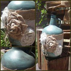 Repurposed wine jug! Wine Jug Crafts, Alcohol Bottle Crafts, Crafts With Glass Jars, Glass Bottle Crafts, Jar Crafts, Wine Bottle Art, Bottles And Jars, Glass Bottles, Ball Mason Jars