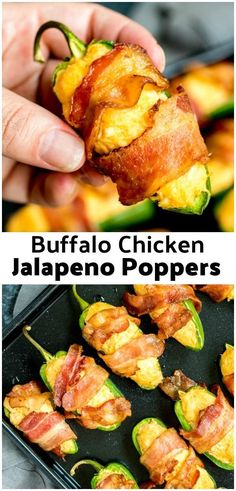 Need a football food idea? These easy Buffalo Chicken Jalapeno Poppers wrapped i. - Need a football food idea? These easy Buffalo Chicken Jalapeno Poppers wrapped in bacon are the per - Buffalo Chicken, Chicken Jalapeno, Chicken Bacon, Stuffed Jalapeno Peppers, Chicken Dips, Roasted Jalapeno, Spicy Appetizers, Chicken Appetizers, Aperitivos Keto