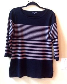 NWT CABLE & GAUGE MULTI-COLOR STRIPED RAYON/POLY 3/4 SLEEVE SWEATER SIZE S #CableGauge #BoatNeck