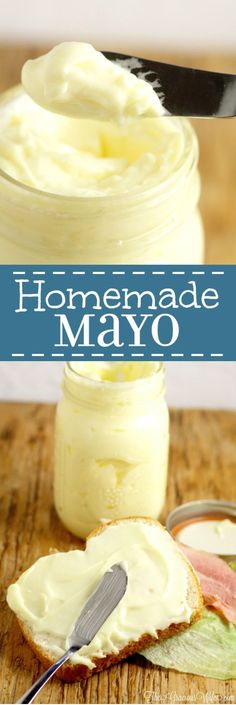 Homemade Mayonnaise Recipe in the food processor - the perfect homemade base for sauce recipes, dip recipes, or just to add a touch of yum to your lunch. Homemade mayo is super easy and really tasty! Skip the sweetener to make it keto. Homemade Mayonaise, Homemade Mayo Recipe, Homemade Sauce, Recipe For Mayonnaise, Paleo Mayonaise Recipe, Homemade Food, Dip Recipes, Sauce Recipes, Cooking Recipes