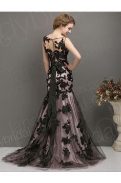 Trumpet Mermaid Jewel Brush Train Black Lace Zipper Evening Dress H5mo0048 Designer Wedding Gown in the Mirrorbridal.