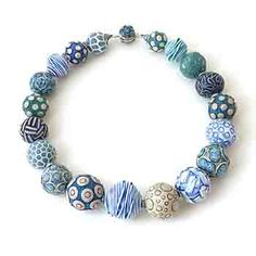 """Ford and Forlano: Big Bead Necklace, Sterling silver and polymer clay. Approx. 20"""" long. Largest bead has 1.25"""" diameter."""
