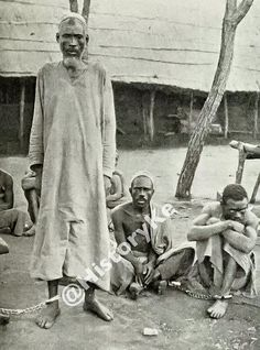 These are not slaves but Arab and Swahili slave traders captured by Bombay-based British naval troops. They slave traders were captured off the Kenyan coast, circa Mombasa, Troops, Kenya, Coast, British, England, Seaside