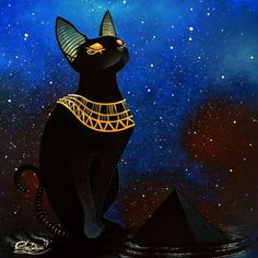 Pyramid of Bastet hqa. Bastet Goddess, Egyptian Cat Goddess, Egyptian Cats, Bastet Tattoo, Illustration Art, Illustrations, Magical Creatures, Cat Tattoo, I Love Cats