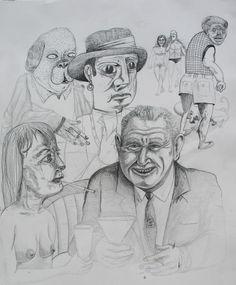 "Bart Johnson, Cocktails, ink on paper, 22"" x 25"", 2007"