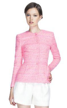 giambattista valli hot pink tweed jacket + white shorts