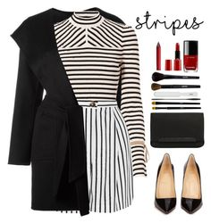 """B/W Stripes"" by chiaral95 ❤ liked on Polyvore featuring MaxMara, Exclusive for Intermix, McQ by Alexander McQueen, Christian Louboutin, Chanel, Giorgio Armani, NYX, contest and BoldStripes"