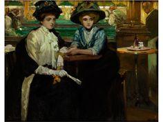 """DAMEN IM CAFÉ Öl auf Leinwand. 73 x 92 cm. Links unten signiert, rechts unten ortsbezeichnet und datiert """"Paris 09"""". (1081455) (21) Ulisse Caputo, 1872..."""