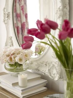 #pink #white #flowers #candles #books #mirror #bedroom #home #decor #ideas