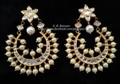 A subtle chand baali crocheted with double-coated pearls | Diamond Polki Earrings | Chand Bali | Chand Bala | Traditional Indian Jewelry | Wedding Jewelry | Bridal Jewelry