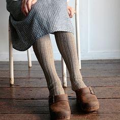 wool knee socks, clogs .