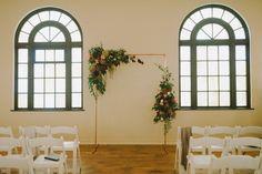 Art Deco Modern Wedding - Fall Flowers - Bond in Bloom Asymmetrical Alter - Fremont Abbey | Seattle #HopeAndy