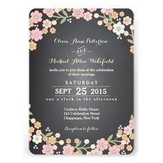 Charming Garden Floral Wreath II Wedding Custom Invitations