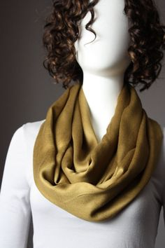 Farb-und Stilberatung mit www.farben-reich.com - Pashmina  infinity scarf in Khaki / Mustard   by ScarfObsession,