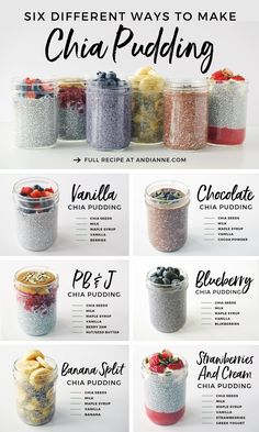 Six Healthy Chia Pudding Recipes. Meal prep just got easier with this collection of 6 simple, delicious and healthy chia pudding recipes! Perfect for on-the-go, these recipes won't disappoint! Oats Recipes, Pudding Recipes, Snack Recipes, Brunch Recipes, Meal Prep Recipes, Pudding Flavors, Dinner Recipes, Vegan Meal Plans, Flour Recipes