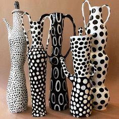Tall, with dots. #ceramics #keramik #pottery #handbuilding #underglaze #firecatprojects #redclaylove #earthenware #chicagoartgirls #blackandwhitepottery #polkadots #americancraft #contemporaryclay