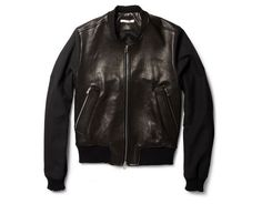 Carven Contrast-Sleeve Leather Bomber Jacket on http://www.dmarge.com