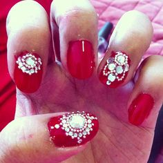 My Ipoh Wedding Reception Nail Art. Red Nails and some extra bling.m