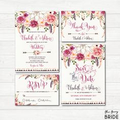 Bohemian Wedding Invitation Suite. Boho Floral Wedding Invite. Dream Catcher Feathers. Watercolor Flowers. Save the Date. RSVP.