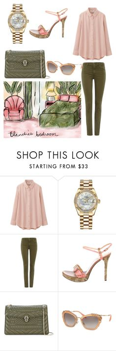 """Blanche Devereaux"" by giannilachica ❤ liked on Polyvore featuring Uniqlo, Rolex, AG Adriano Goldschmied, Casadei, Bulgari, Miu Miu, goldengirls, rolex, BULGARI and uniqlo"