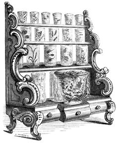 """CABINET AQUARIUM From """"The Book of the Aquarium"""" by James Shirley Hibberd, 1860."""