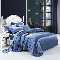 19 momme Royal Blue Luxuer 7-Pieces Silk Bedding Collections