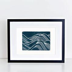 Japanese Waves Linocut Print