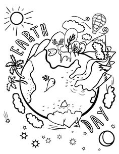 Printable Earth Day coloring page. Free PDF download at http://coloringcafe.com/coloring-pages/earth-day/